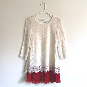 Cream Crochet Lace Dress with Red Pleated Trim